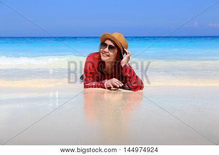 Asia woman in Tropical beach Similan Island Andaman Sea Thailand