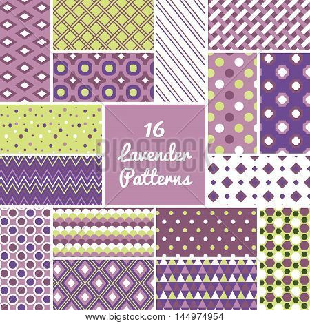 Lavender seamless pattern set. Vintage vector background. Geometric frame repeat wallpaper. Decorative elements collection. Abstract texture. Fashion design, elegant fabric print, paper wrapping