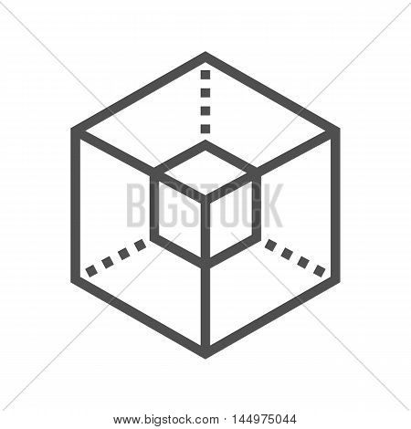 3D modeling thin line vector icon isolated on the white background.