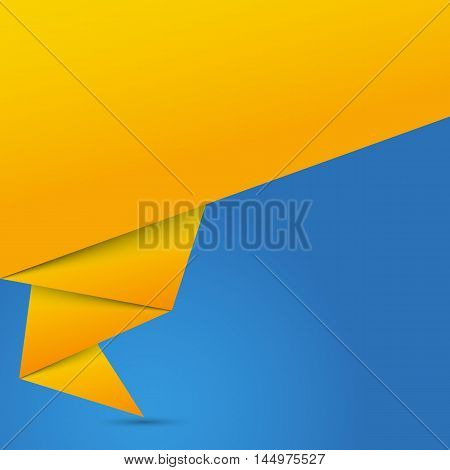 Abstract glossy orange origami speech bubble on a blue background. Vector illustration.
