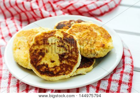 Cottage cheese pancakes,  Russian cuisine. selective focus