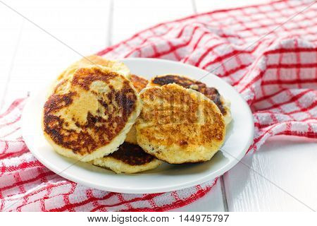 Cottage cheese pancakes, traditional Ukrainian and Russian cuisine.selective focus