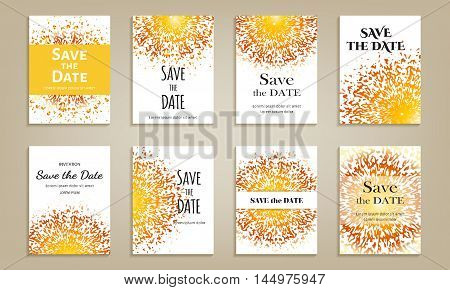 Set of cards save the date. Template with color circular spray pattern. Vector illustration.