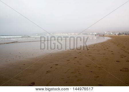 Morocco, Agadir - May 20, 2016: Beach in Agadir city in Morocco in 2016