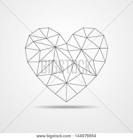 Black heart isolated on white background. Triangular low poly heart. Vector polygonal heart.