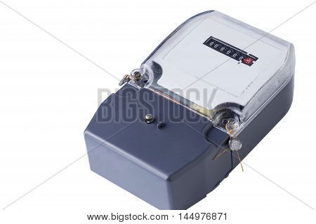 the electric meter on a white background