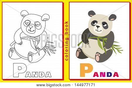 panda. Children coloring with the letters. vector image