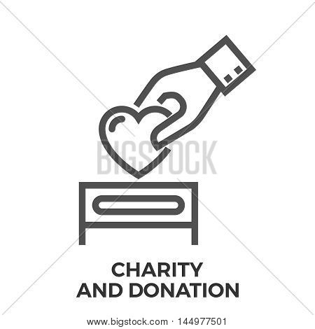 Charity and donation thin line vector icon isolated on the white background.
