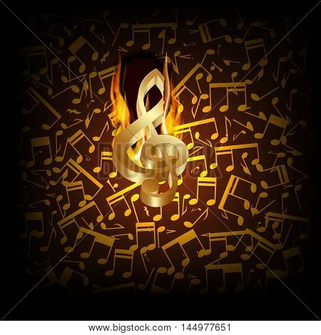 Vector illustration of musical background fire break with golden treble clef and musical notes in the background.