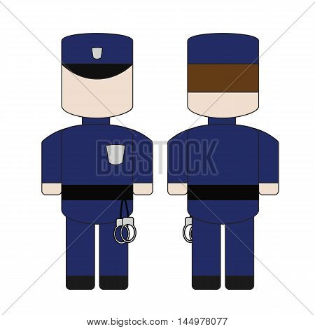 Cute simple cartoon of a policeman with handcuffs. The front and the back.