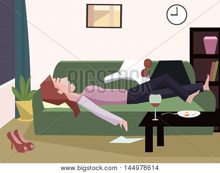 tired woman fall asleep - funny cartoon vector illustration