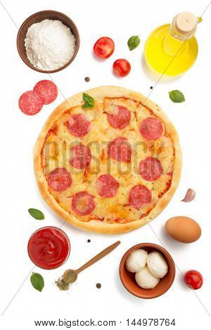 pepperoni pizza and ingredients isolated on white background