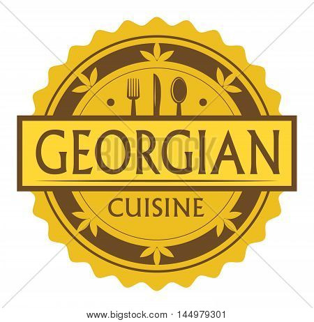Abstract stamp or label with the text Georgian Cuisine written inside, traditional vintage food label, with spoon, fork, knife symbols, vector illustration