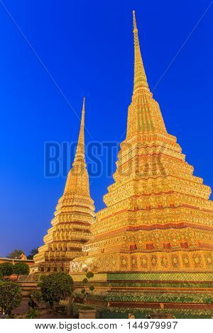 Wat Pho Bangkok Thailand. Also known as Wat Phra Chetuphon 'Wat' means temple in Thai. The temple is one of Bangkok's most famous tourist sites. The temple has it's origins dating back to 1788.