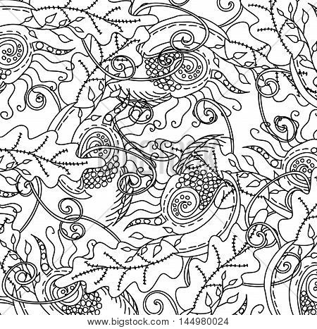 Uncolored hand drawn pattern. Coloring book page for adults. Doodles with vintage flowers pattern. Zendala. Zentagle.
