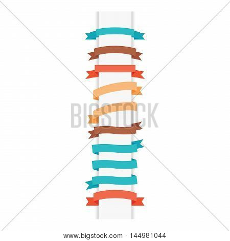 Modern style ribbons set isolated on white. Vector illustration