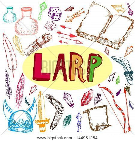 Vector hand drawn colored set of most popular LARP elements and things isolated on white and augmented with its abbreviation. LARP and role play design decoration of special printed production and places.