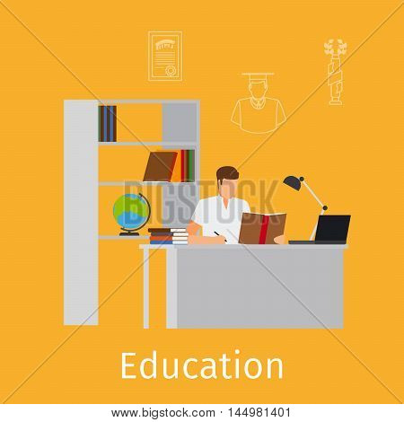 Education concept with education illustration. A man studing vector icon