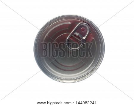 Can of conserved food on the white background, Plastic can food