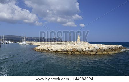 Pier & Breakwater from Sea Latchi Harbour Cyprus