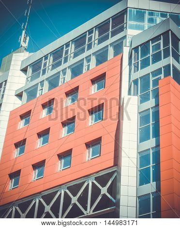 Facade Modern Modernistic Red Building Sunny Day