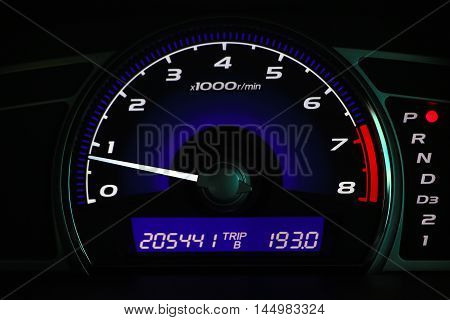 Mileage car ,Car dashboard on the car console