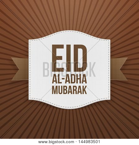 Paper Card Template with Eid al-Adha Text. Vector Illustration