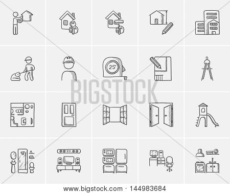 Construction sketch icon set for web, mobile and infographics. Hand drawn construction icon set. Construction vector icon set. Construction icon set isolated on white background.