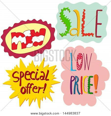Vector set of most popular shop signs in cartoon style. Illustration for shops stores and malls design element for magazines shop windows articles.