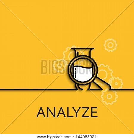 Vector business illustration in linear style with a picture of analyze as tube and magnifier on yellow background poster or banner template.