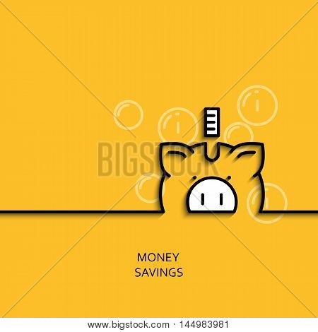 Vector business illustration in linear style with a picture of money saving as piggy-bank on yellow background poster or banner template.