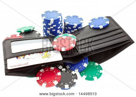 Poker Chips In Black Leather Purse