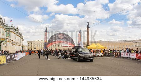 St. Petersburg, Russia - 13 August, Harley Davidson parade Building on Palace Square,13 August, 2016. The annual parade of Harley Davidson in the squares and streets of St. Petersburg.