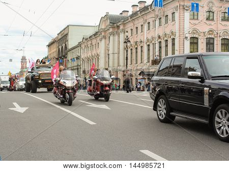 St. Petersburg, Russia - 13 August, Group Motorcycle sponsor,13 August, 2016. The annual parade of Harley Davidson in the squares and streets of St. Petersburg.