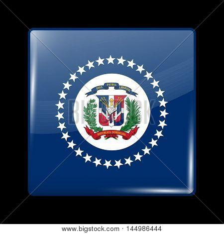 Flag Of Dominican Republic. Glossy Icon Square Shape
