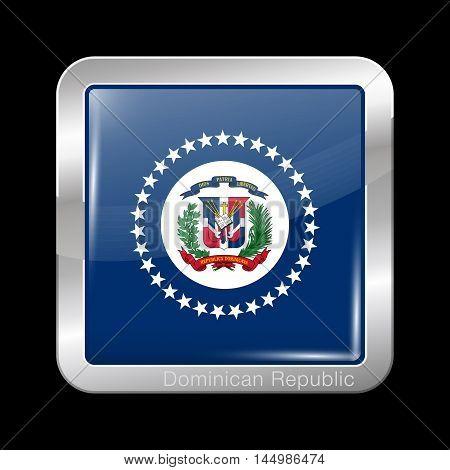 Flag Of Dominican Republic. Metal Icon Square Shape