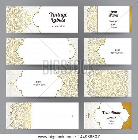 Vector Set Of Ornate Horizontal Cards In  Eastern Style.