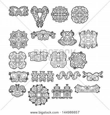 Set of celtic patterns and celtic ornament in black. Vector illustration.