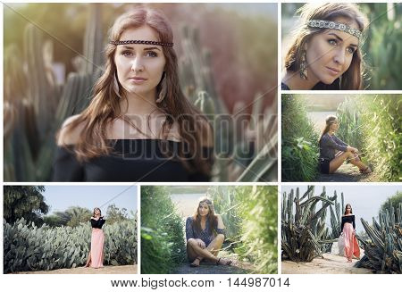 Boho styled collage: young european woman dressed like a hippie or bohemian chick in the park with cactus plant