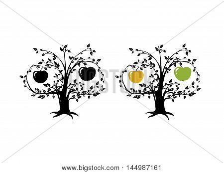 Apple fruit tree vector Icon. Nature sign