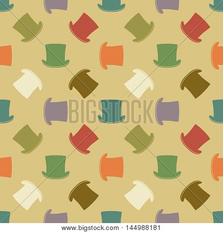 Vintage cylinder hat seamless pattern. Stylish retro print for covering or wrapping.  Illustration background.