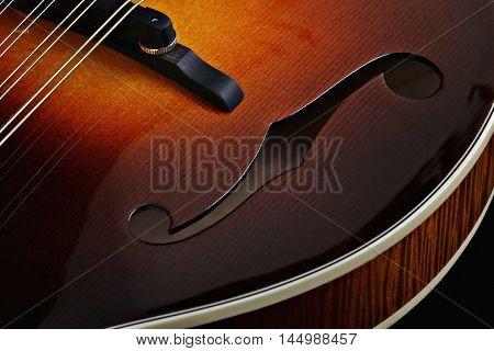 Mandolin isolated on black background. Music concept.