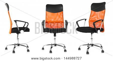 Collage of office chair isolated on white