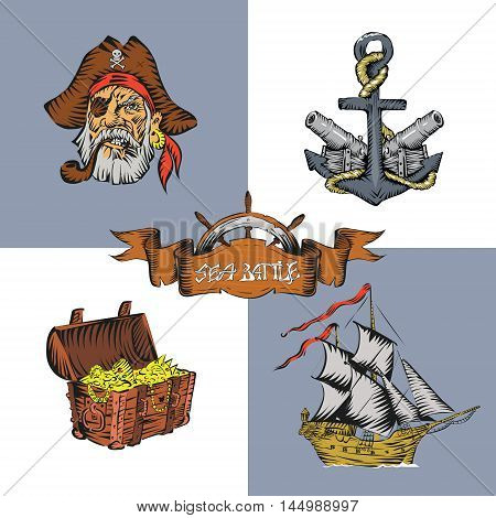Pirate themed treasure chest cannon ship helm anchor head pirate vector
