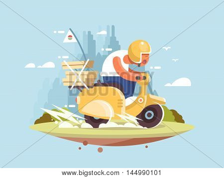 Pizza delivery man on a scooter driving fast vector illustration
