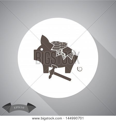 Broken piggy bank  Vector icon for web and mobile.