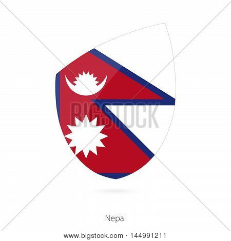 Flag of Nepal in the style of Rugby icon. Vector Illustration.