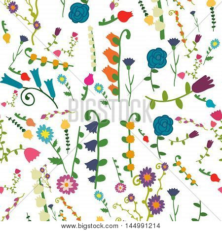 Vector seamless flat floral pattern. Decoration of rooms wrapping paper decoration floristry and cafe wallpaper stationery illustration.