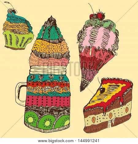 Vector hand drawn set of most popular sweets in a specific style. Food industry catering menu and recipe books illustration design element sticker postcard textile.
