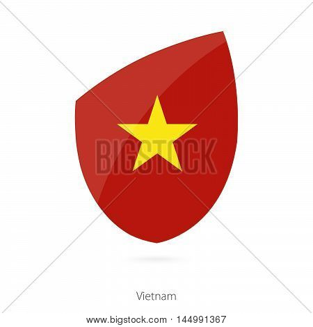 Flag of Vietnam in the style of Rugby icon. Vector Illustration.